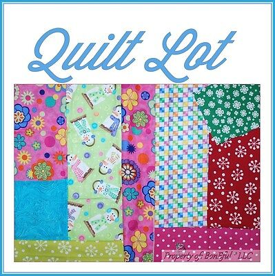 BonEful Fabric COTTON SCRAP QUILT LOT VTG Xmas Pink Red Green Dot Snowflake Girl
