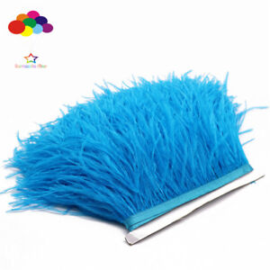 Diy Mint Green 1//5//10 Meter Ostrich Feather Cloth Trims 3.15-6In//8-15Cm Carnival