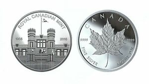 2018-amp-2019-RCM-Building-amp-Maple-Leaf-Pure-Silver-Medallions-from-PROOF-Sets