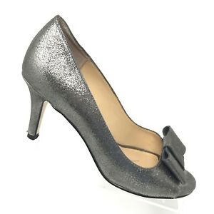 6b6fda1093f9 Kate Spade Silver Metallic Leather Heel Peep Toe Bow Pumps Womens ...