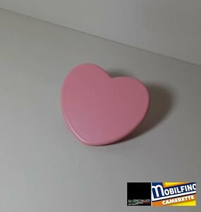 Maniglia cuore rosa 32mm cameretta armadio design pink heart handle ...
