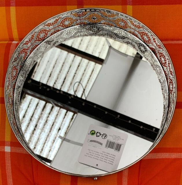 Deko Tablett Silber mit Spiegel Herzform 28 x 28 x 6cm