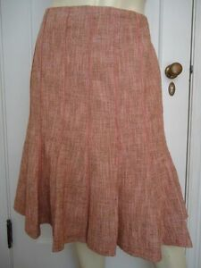 ANN-TAYLOR-PETITES-Cotton-Wool-Gored-Tweed-Skirt-12P-NWOT-Lined-Flared-CLASSY