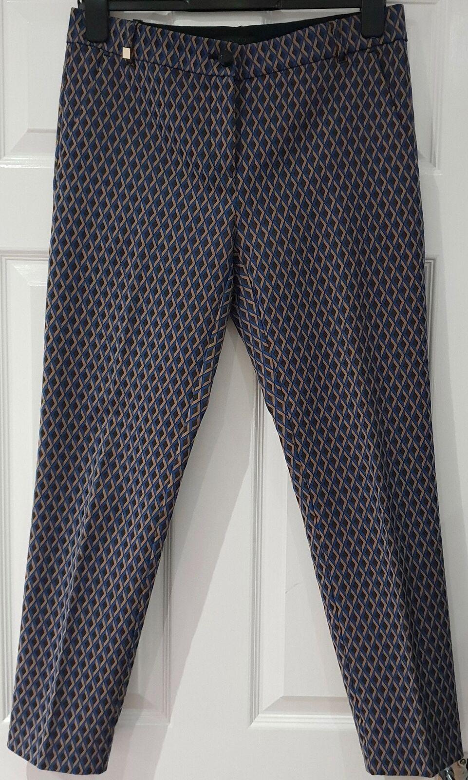 rosaO blu Beige nero Diamond Pattern Tapered Crop Capri Trousers Pants 44 UK12