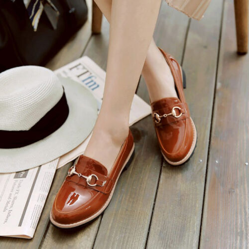 Women Low Heels Beach Casual Shoes Patent Leather Chic Slip On Loafers Walking