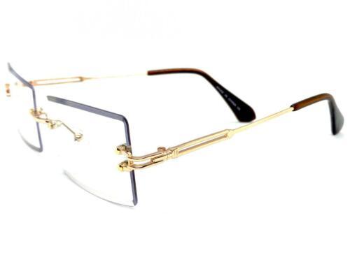 Mens Classy Elegant Sophisticated Clear Lens EYE GLASSES Rimless Rose Gold Frame