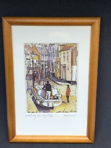 Vintage-Signed-Marian-Forster-Art-Print-Waiting-For-High-Tide