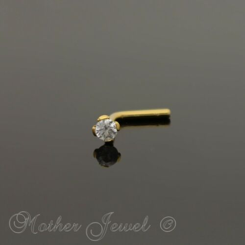 14K YELLOW GOLD IP 2MM SIMULATED DIAMOND L SHAPED BENT UNI NOSE PIERCING STUD