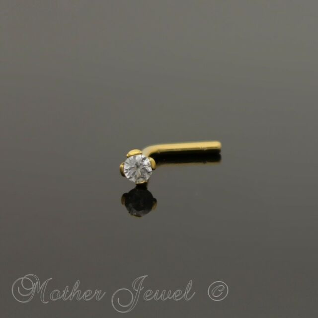 2MM SIMULATED DIAMOND 14K YELLOW GOLD IP L SHAPED BENT BEND NOSE PIERCING STUD