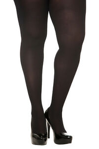 27cc6fb4e6d TORRID WOMAN PLUS SIZE BLACK OPAQUE SPANDEX FOOTED TIGHTS IN 1X 2X ...