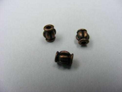 50 PERLE LANTERNE ARGENT TIBET CUIVRE  4X5.5mm-neuf pap