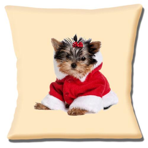 Yorkshire Terrier Puppy Cushion Cover 16 inch 40cm Christmas Santa Coat Cream