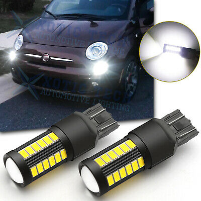 2x 7443 Cool White 80W 16-SMD LED Daytime Running Lights for Fiat 500 2009-2019