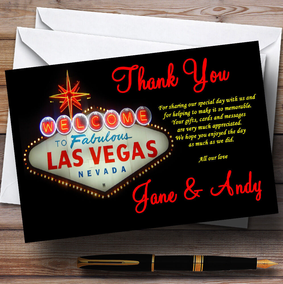 Las Vegas Sign Fabulous Personalised Wedding Thank You Cards