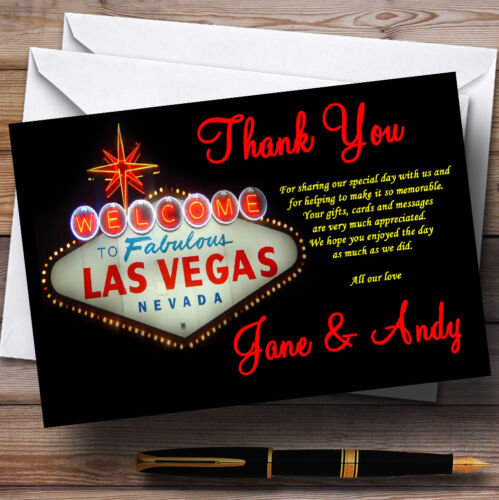 Las Vegas Sign Fabulous Personalised Wedding Thank You Cards