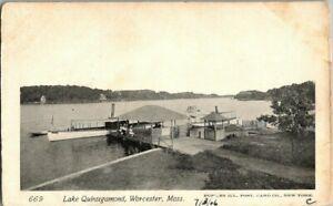 1905-WORCESTER-MASS-LAKE-QUINSIGAMOND-POSTCARD-KK2