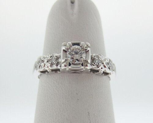 Estate Genuine Diamonds Solid 14k White gold Engagement Ring FREE Sizing
