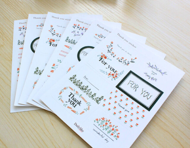 New 6 sheet thank you  label stationery sealed envelope diary book paper sticker