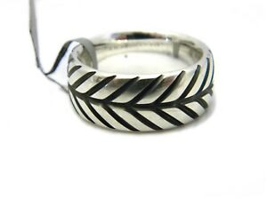 David Yurman Mens 10mm Modern Chevron Band Ring Sterling Silver Size 10 NWT