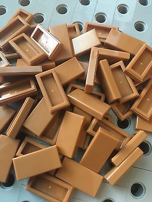 Medium Nougat 6 X LEGO 3069 Plate Smooth Flat Tile 1x2 With Groove New