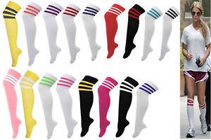 679e8366b Men Women s Sport football Soccer Stripe Long Socks Over Knee High ...