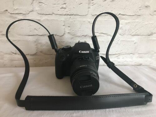 Vera Pelle DSLR Fotocamera Tracolla Cinghia Fotocamera Nero Leather Camera Strap #229