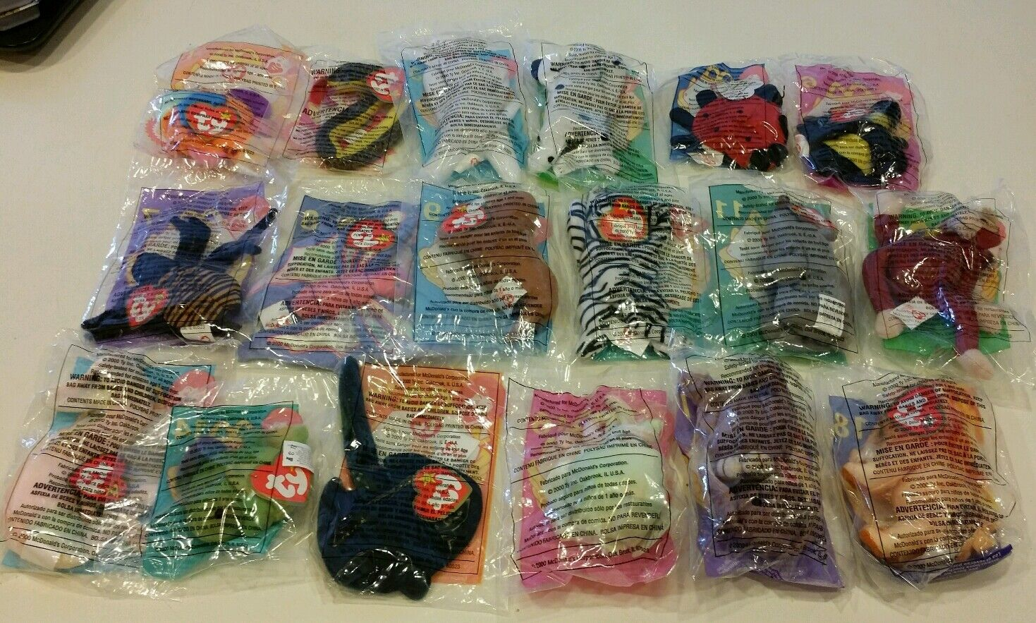 McDonald's 2000 HAPPY MEAL Ty Teenie Beanie Babies, Complete Complete Complete set 18 New Sealed 29b8d9