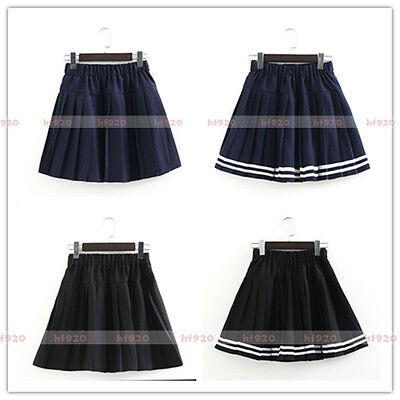 Girls Solid Stripe Pleated Uniform Mini Skirt Japanese School JK Sailor Dresses