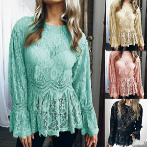 Womens-Summer-Long-Sleeve-Lace-T-Shirt-Blouse-Ruffle-Ladies-Loose-Crew-Neck-Tops