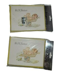 Vintage Baby Shower Invitations C. R. Gibson 2 packs of 8 boy or girl NOS New