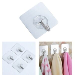 4Pc-Clear-Adhesive-Hooks-Magic-Hook-Heavy-Duty-Wall-Hooks-Waterproof-Sticky-New