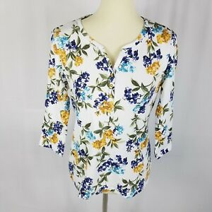 New-Karen-Scott-womens-top-size-PXL-white-purple-yellow-floral-3-4-sleeves
