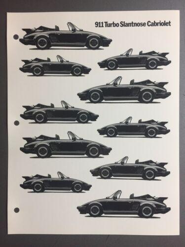 1987 1988 Porsche 911 Turbo Slantnose Cab B/&W Clip Art Pictures Print Poster