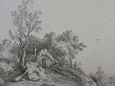F. RECHBERGER `DIE STROHBEDECKTE HÜTTE AUF DEM HÜGEL; THATCHED COTTAGE´  ~1800
