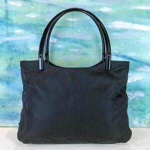 39c7e2468b7  845 PRADA Black Nylon Tote Handbag Double Lucite Handles Side Logo ...