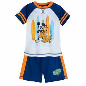 2c38c7820 Disney Store Mickey Mouse Boys Summer Surf Sleep Set Pajamas PJs ...