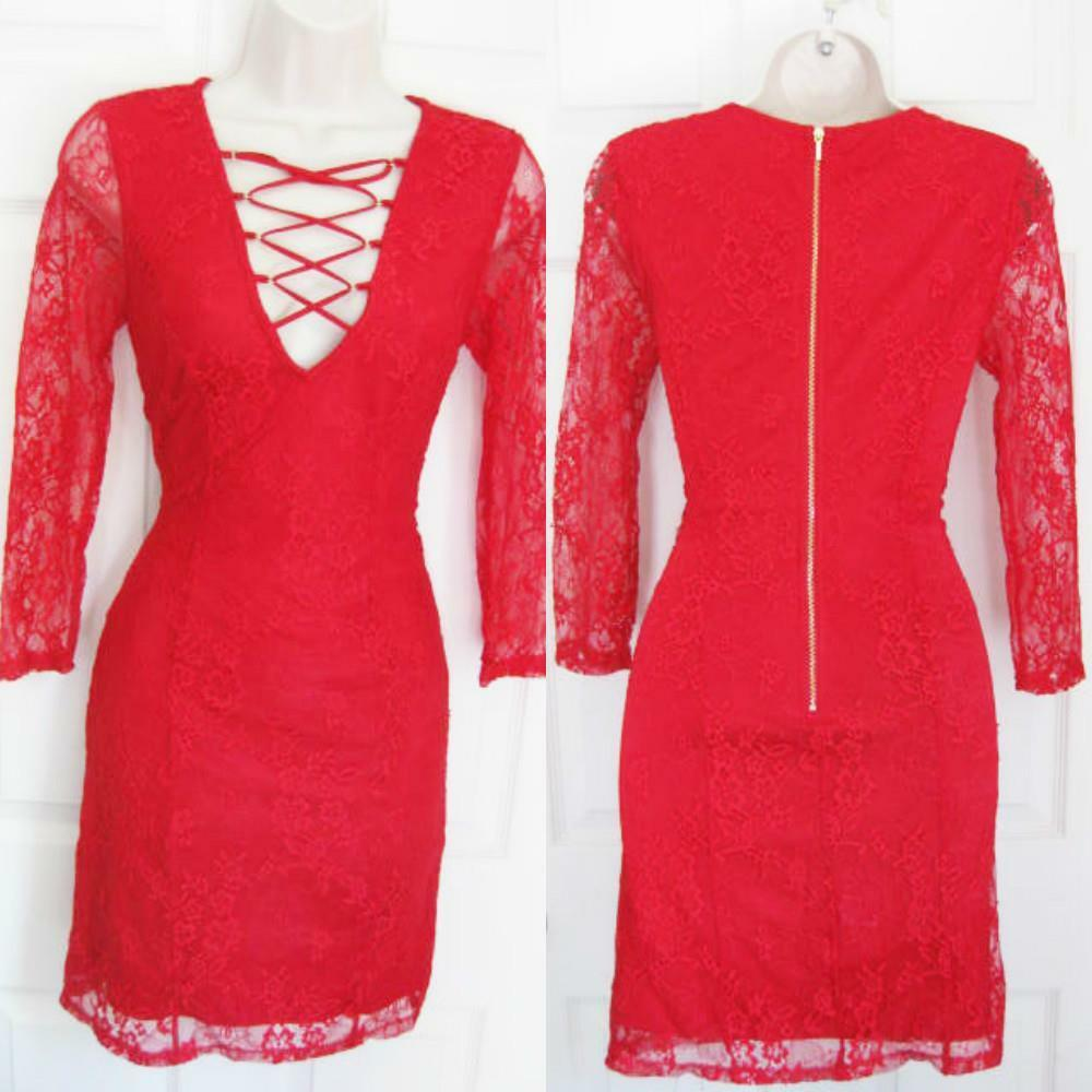 BEBE RED LACE CECILE LACE UP LACE DRESS NWT NEW SMALL S