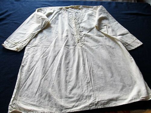 OLD ANTIQUE PRIMITIVE MEN'S SHIRT WHITE HOMESPUN H