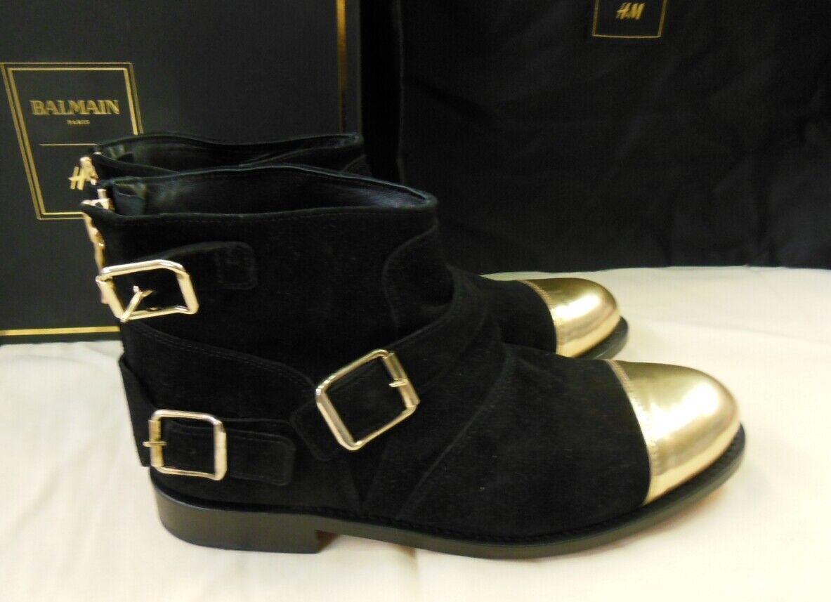 Balmain x h&m edición limitada señora botas botín gamuza de cuero de cuero 37 - 38