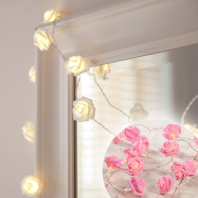 1-3x 20er LED Rosen Lichterkette Blumen Lichter Deko Leuchte Muttertag Batterie