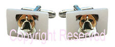 Old English Bulldog Natural Mother Of Pearl Square Cufflinks + Gift Box Scs46