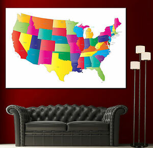 Usa Colorful Map United States Canvas Print Fine Wall Art