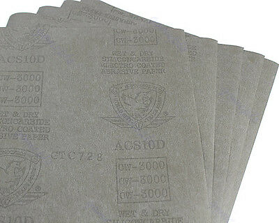 """3000 Grit 5 sheets Sandpaper Waterproof Paper 9""""x11"""" Wet/Dry Silicon Carbide"""