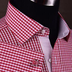 Mens mini red gingham check dress shirt business formal for Men s red gingham dress shirt