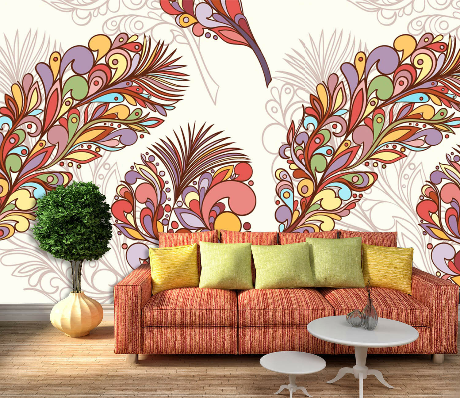 3D Farbe Feather 83 Wall Paper Decal Dercor Home Kids Nursery Mural  Home