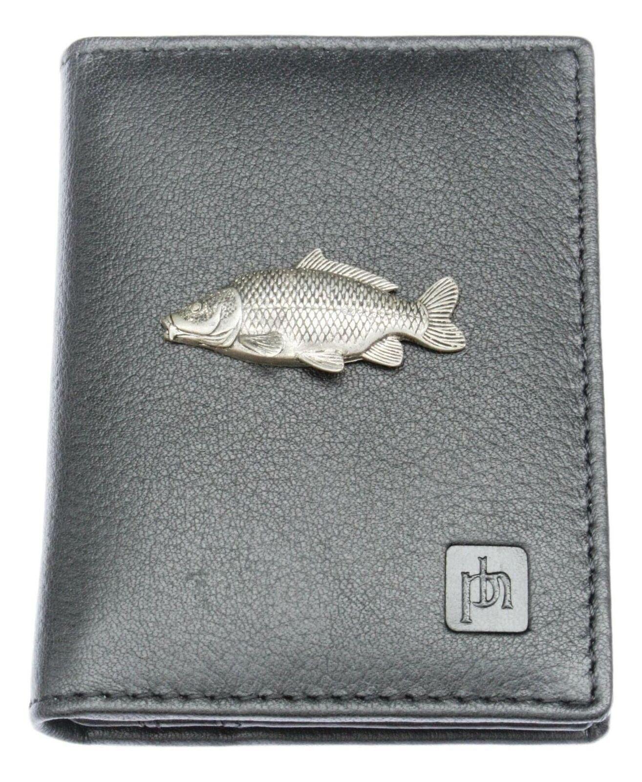 Common Carp Bifold Card Holder Leather Black Wallet RFID Safe 80
