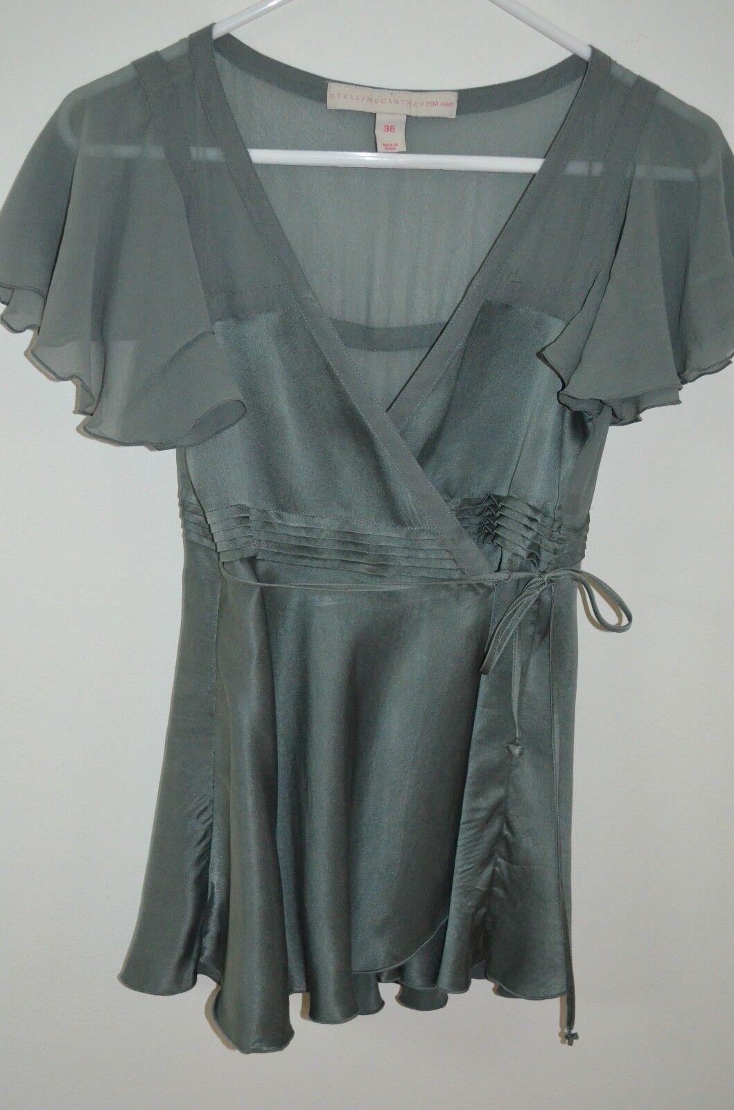 Stella McCartney for H & M Grün 100% Silk Flutter Sleeve Wrap Blouse Größe 36