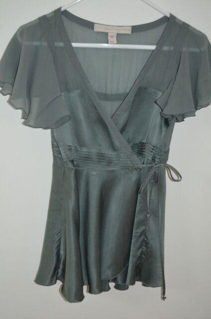 3618e320faae2 Stella McCartney for H   M Green 100% Silk Flutter Sleeve Wrap Blouse Size  36