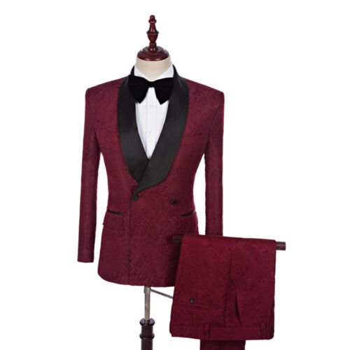 Men/'s Burgundy Jacquard Paisley Double Breasted Tuxedos Suit Groom Wedding Suit