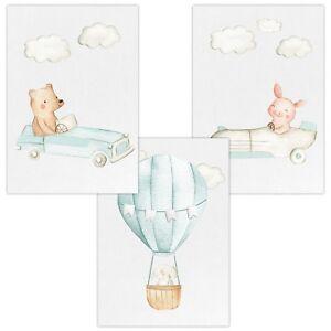 3er-Set-Wandbilder-Baby-Kinderzimmer-Deko-Poster-A4-W12-Autos-amp-Heissluftballon